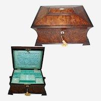 Antique Burr Walnut Work Box. Beautiful, Original Well Preserved. Circa 1830s