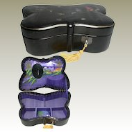 Lacquered Butterfly Japanese Jewelry Box. Silk Painted Interior.