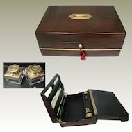 Large Antique Writing Box with Contents. English Victorian. Triple Folding. Embossed Leather Interior