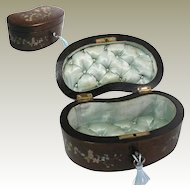 19th Century French Jewelry Box. Hand Painted. Silk Padded Interior