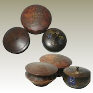 Three French Folk Art  Boxes / Pots. Hand painted & carved Wood.