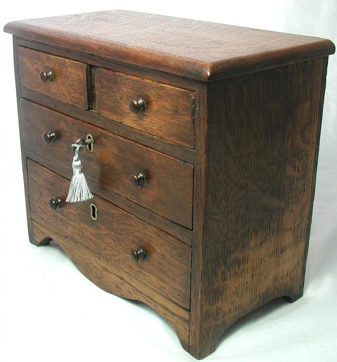 Well known Antique English Miniature Chest of Drawers. Solid Oak Apprentice  UB62