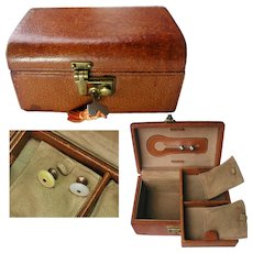 Vintage Pig Skin Jewelry Box. Plus Men's Diamond Cut Crystal Dress Shirt Studs