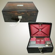 Antique Coromandel Wood Sewing Box. Fitted Tray. Beautiful Wood Grain