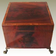 Fine Quality Flame Mahogany Box on Brass Paw Feet. English Edwardian c1900.