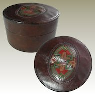Arts and Crafts Leather Collar Box. Embossed Design