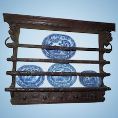 Miniature Doll or Large scale Dollhouse Plate Rack - Jacobean Revival circa 1870