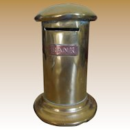 Victorian Money Box Bank - Pillar Box Letter Box circa 1870 in Brass