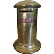 Victorian Money Box Bank - Pillar Box Letter Box circa 1870 in Brass