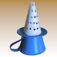 Very Rare Antique Miniature Graniteware Enamel Dollhouse Kitchen  Witches Hat sauce / gravy strainer or sieve