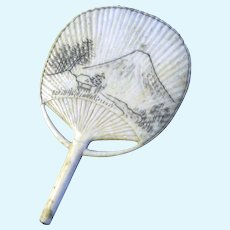 Antique Dollhouse Miniature Fan  - Japanica circa 1880