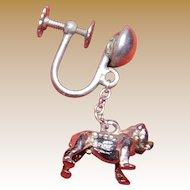 Vintage English Bulldog Sterling Silver Earrings