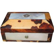 Miniature Georgian Tortoiseshell and Mother of Pearl Needle Case Box
