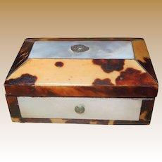 Miniature Georgian Tortoiseshell and Mother of Pearl Needle Case Box