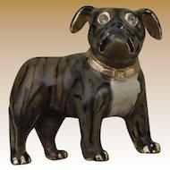 Vintage Bulldog Brooch - Enamel, 22 carat gold plated