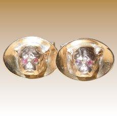 Vintage Gold and Ruby Bulldog Cufflinks
