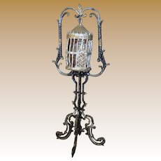 Antique Victorian Dollhouse Birdcage and Stand