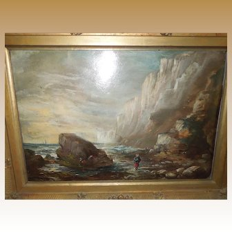Oil on Board of Flamborough Head Bridlington Yorkshire in Period Frame circa 1830 or earlier