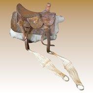 Vintage Dollhouse  Miniature Saddle - Embossed Leather, Sheepskin -FABULOUS