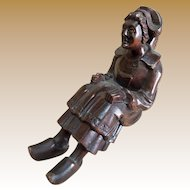 """Antique French Treen Hand Carved """"Sitter"""" - Woman with Hat and Clogs"""