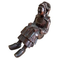 "Antique French Treen Hand Carved ""Sitter"" - Woman with Hat and Clogs"