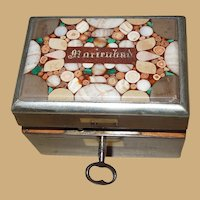 Antique Tiny Miniature Tea Caddy - Doll or Dollhouse - Pietra Dura circa 1840-1860