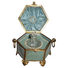Small Napoleon III French Cut Crystal Perfume Bottle in Silk and Ormolu Case circa 1860
