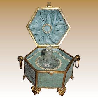 Small Napoleon III French Cut Crystal Perfume Bottle in Silk and Ormolu Case circa 1860