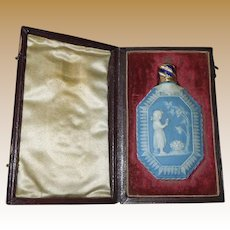 Antique Georgian Wedgwood Jasperware Perfume Bottle in FItted Case Circa 1790