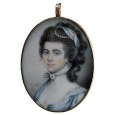 Antique  Georgian Miniature Portrait signed and dated 1784