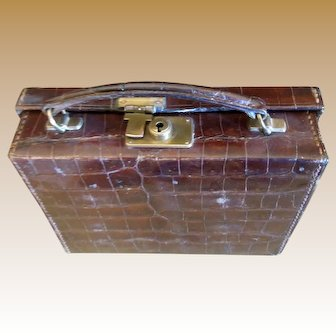 Miniature Antique Doll Size Crocodile Leather Suitcase with Working Lock