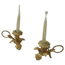 Antique Dollhouse Erhard and Sohne Ormolu Petal Candlesticks