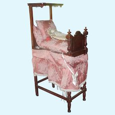 Antique Victorian Miniature or Doll Half Tester Bed  - Mahogany circa 1860
