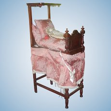 Antique Victorian Miniature or Doll Half Tester Bed  - Mahogany circa 1860
