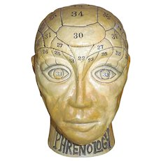 Antique - Early 1900s papier mache phrenology head - savings bank