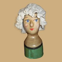 FABULOUS Very Rare Early  French Milliners Model Head circa 1850