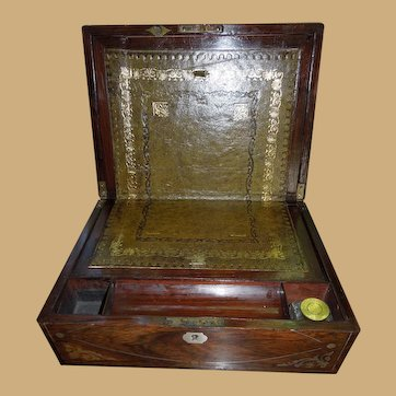 Victorian Rosewood Mother of Pearl Writing Box - Lap Desk