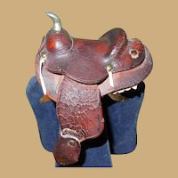 Antique Miniature Leather Western Saddle - Miniature, Doll or Large Dollhouse