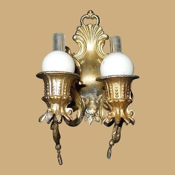 Antique Early German Soft Metal Dollhouse Sconce