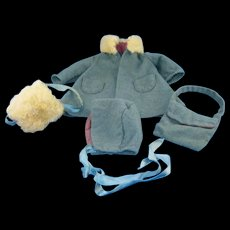 Old wool doll coat, hat, muff, and purse. - Red Tag Sale Item