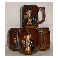 Set Of Four Red Ware Tankards