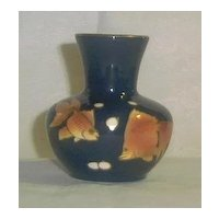 Cobalt Blue Vase With Goldfish Motif