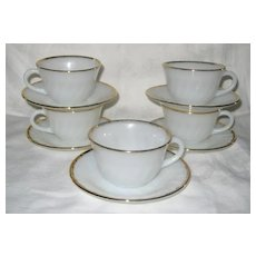 Five Fire-King Gold Trimmed Cups And Saucers