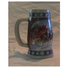"""Budweiser Holiday Stein, """"Lighting The Way Home"""" 1995"""