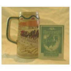 """Budweiser Holiday Stein Titled, """"American Homestead"""" 1996"""