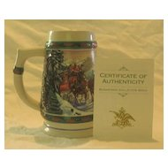 "Budweiser 1993 Holiday Stein Titled, ""Special Delivery"""