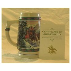 """Budweiser 1993 Holiday Stein Titled, """"Special Delivery"""""""