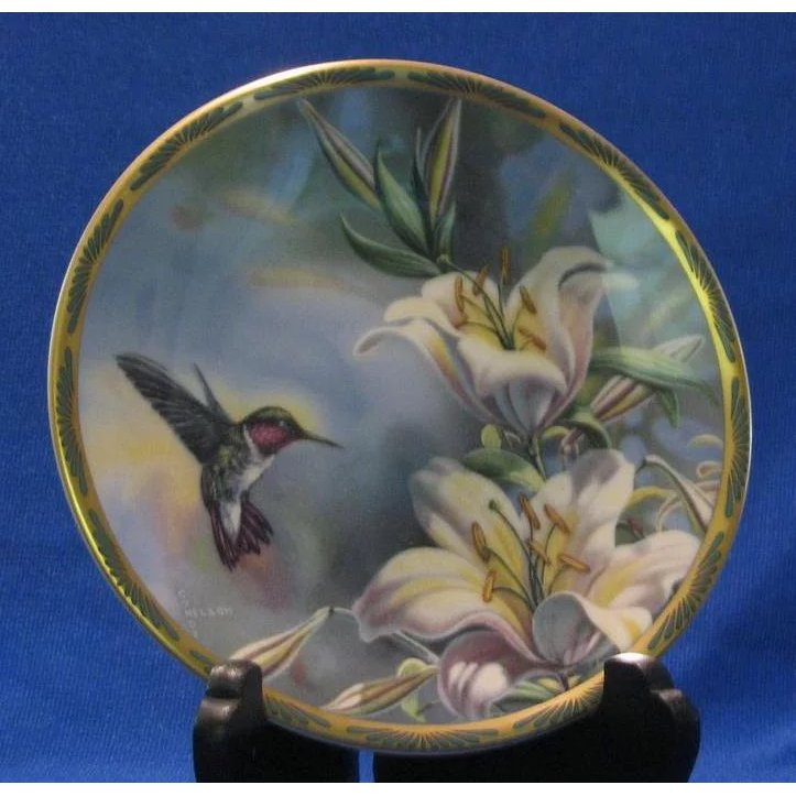 Pickard Collector Plate  Ruby-throated Hummingbird And Lilies   A Dream Remembered | Ruby Lane & Pickard Collector Plate