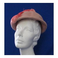 Vintage Ladies Hat With Feather Decoration