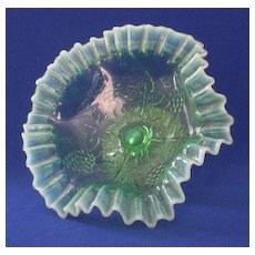 Double Crimped Green Opalescent Compote